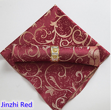 Red colour Table napkin jacquard polyester napkin for wedding hotel restaurant table decoration wrinkle stain resistant