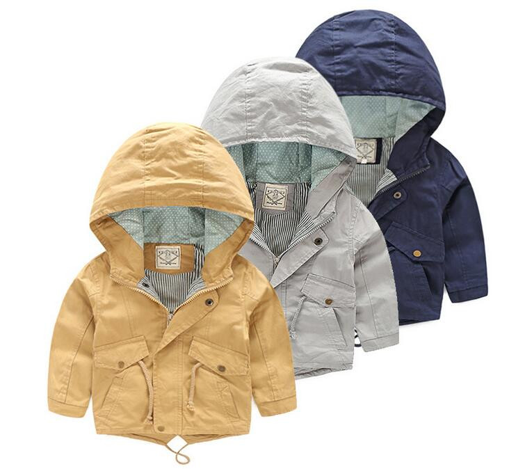 45553 Retail 2017 New Autumn Fashion Boy Trench Solid Hooded Boy Coat Casual Kids Outerwear Boy Clothes <br><br>Aliexpress