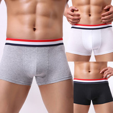 Buy Fashion Sexy Men's Boxer Solid Cotton Breathable Mens Elastic Underwear Men Boxers Shorts Bulge Pouch Soft Male Underpants