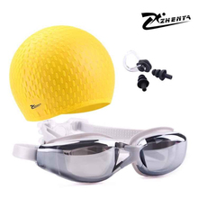 ZHENYA Swimming cap Silicon Waterproof piscina Men and women Swimming goggles myopia earplug arena glasses Swim hat natacion