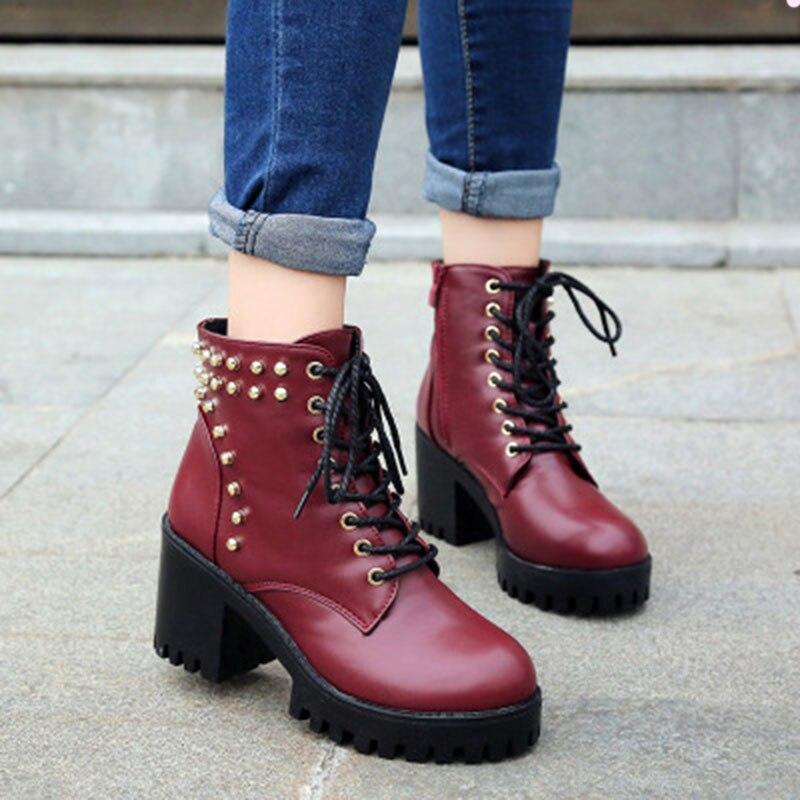 2017 New design women shoes punk boots fashion top quality  women boots women winter cool rivet square heels<br>