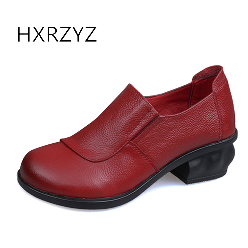 HXRZYZ women high heel boots genuine leather ankle boots female spring/autumn fashion rubber sole red/black/grey women shoes<br>