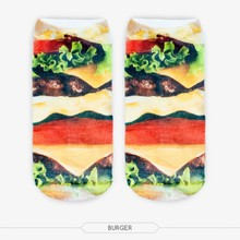 Attractive Hamburger Socks 3D Full Printing Food Socks Low Cut Ankle Socks Strumpor Casual Socks