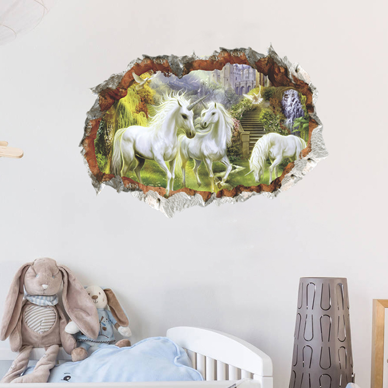 HTB1wGl8tgaTBuNjSszfq6xgfpXaZ - unicorn horse forset wall stickers creative 3d break the wall effect picture For Kids Rooms