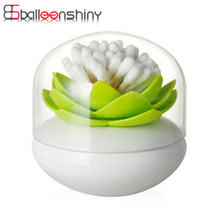 BalleenShiny New Cotton Swab Storage Box Lotus Shape Makeup Cotton Bud Holder Case Toothpick Organizer Storage Tools