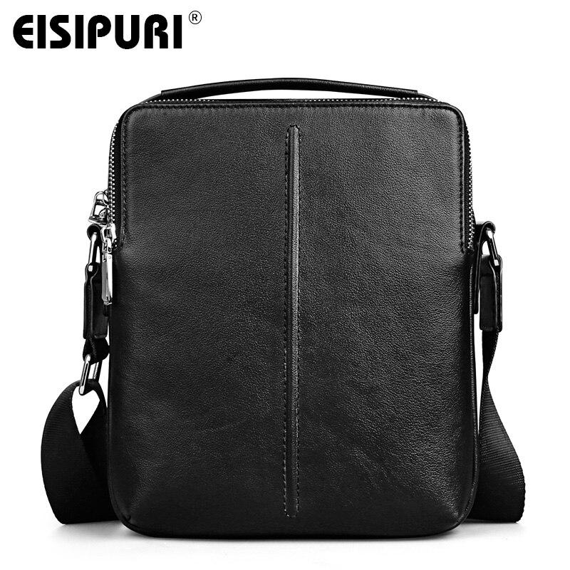 EISIPURI 100% Cow Leather Men Messenger Bag Casual Business Vintage Mens Bag Genuine Leather Shoulder Bag Crossbody Bag <br>
