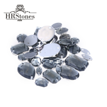 200pcs Mix Size & Shape Acrylic no hotfix piedras y cristales Black Diamond Sewing On DIY Acrylic Rhinestone For Wedding Dresses