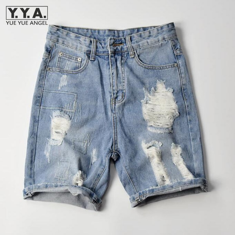 Mens Summer Denim Slim Fit Leisure Knee Length Short Distressed Washed Jeans Shorts For Men Light Blue JeansÎäåæäà è àêñåññóàðû<br><br>