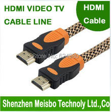 High density Network with magnetic tape Gold Plated plug flat HD connector monitor 1.4V 3M 10ft Braid TV HDMI cable for laptop(China)