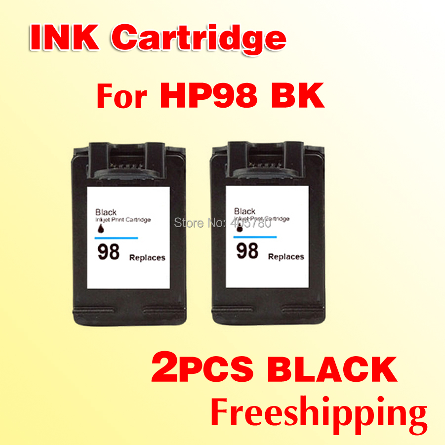 2pcs black ink cartridge compatible for hp98 C9364WN for hp 98 5940/5940xi /2575/8050/C4180/ 6310 printer  <br><br>Aliexpress