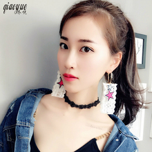 Punk Ladies Lace Five Pointed Star Circle Earrings Earrings Wholesale Cloth Exaggerated Earings Fashion Jewelry 2017 Brincos(China)