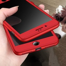 Buy Luxury PC 360 Full Body Protective Hard PC Red Phone Cases Apple iPhone 7 Case iphone 6 6s 7 Plus + Tempered Glass Film for $2.65 in AliExpress store