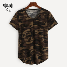 Women's T-shirt Army Green Pocket V Neck Sexy Summer Camo Short Sleeved Tshirt and Casual Camouflage Shirt Fashion Street Wear