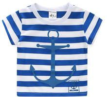 Summer Anchor Striped Basic Boys T Shirts Kids Tops Tees Baby Clothes Children Pullovers Short Sleeves 2017 T2DAO