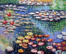 Handmade Canvas Painting Water Lilies (Pink) by Claude Monet Landscape Oil Paintings Wall Decor Famous Art Drawing(China)