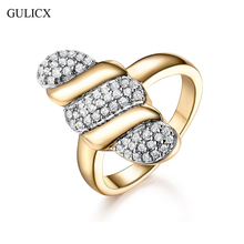 GULICX 2017 Unique Design Big Long Cocktail Rings For Women Gold-Color Cubic Zirconia Party Jewelry Gift(China)