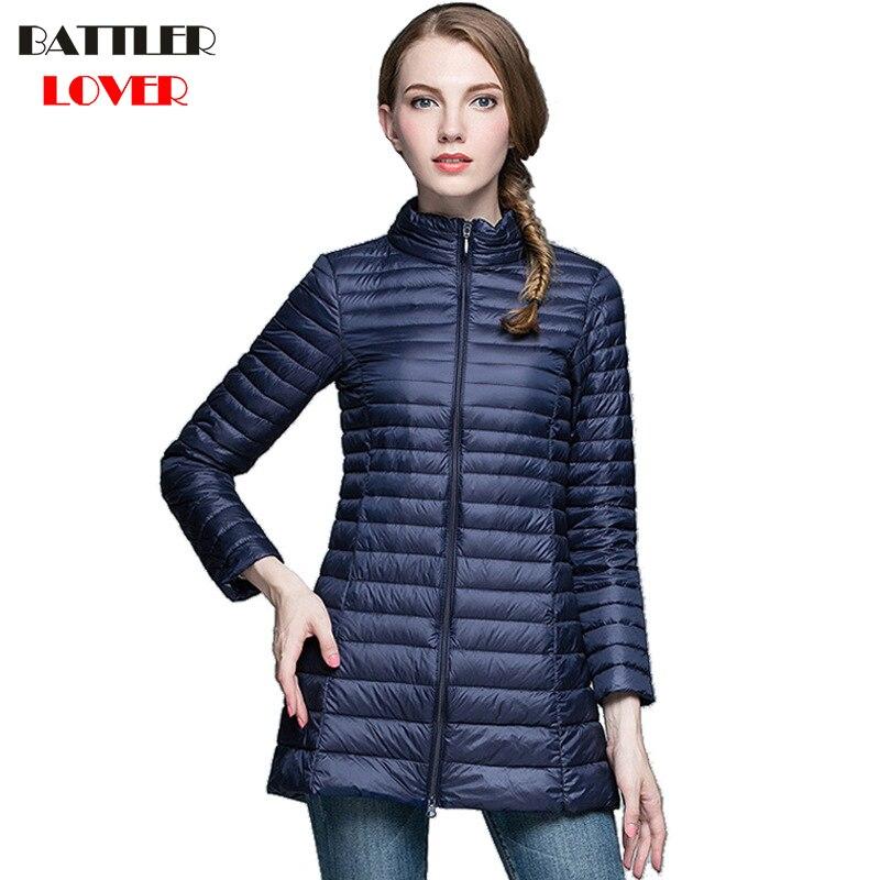 Winter Women Ultra Light Down Jacket 90% Duck Down Long Jackets Long Sleeve Warm Slim Coats Womens Parka Female Portabl Outwear