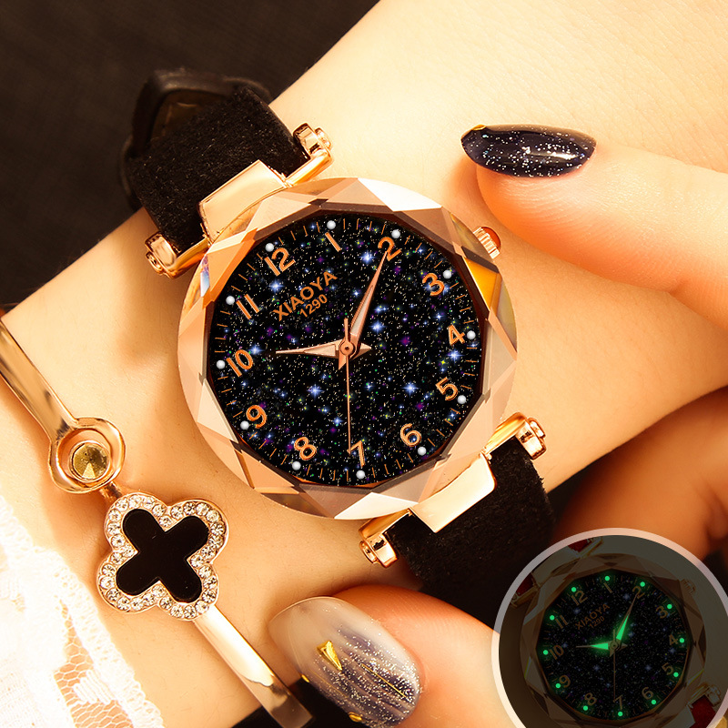 Luxury Starry Sky Watch For Women Fashion Ladies Quartz Wristwatch Red Leather Waterproof Clock relogio feminino zegarek damski(China)