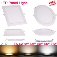 Ultra thin 3W 6W 9W 12W 15W 18W 24W Square LED panel downlight Round LED Ceiling Recessed Lights 4000K Neutral LED Panel Light