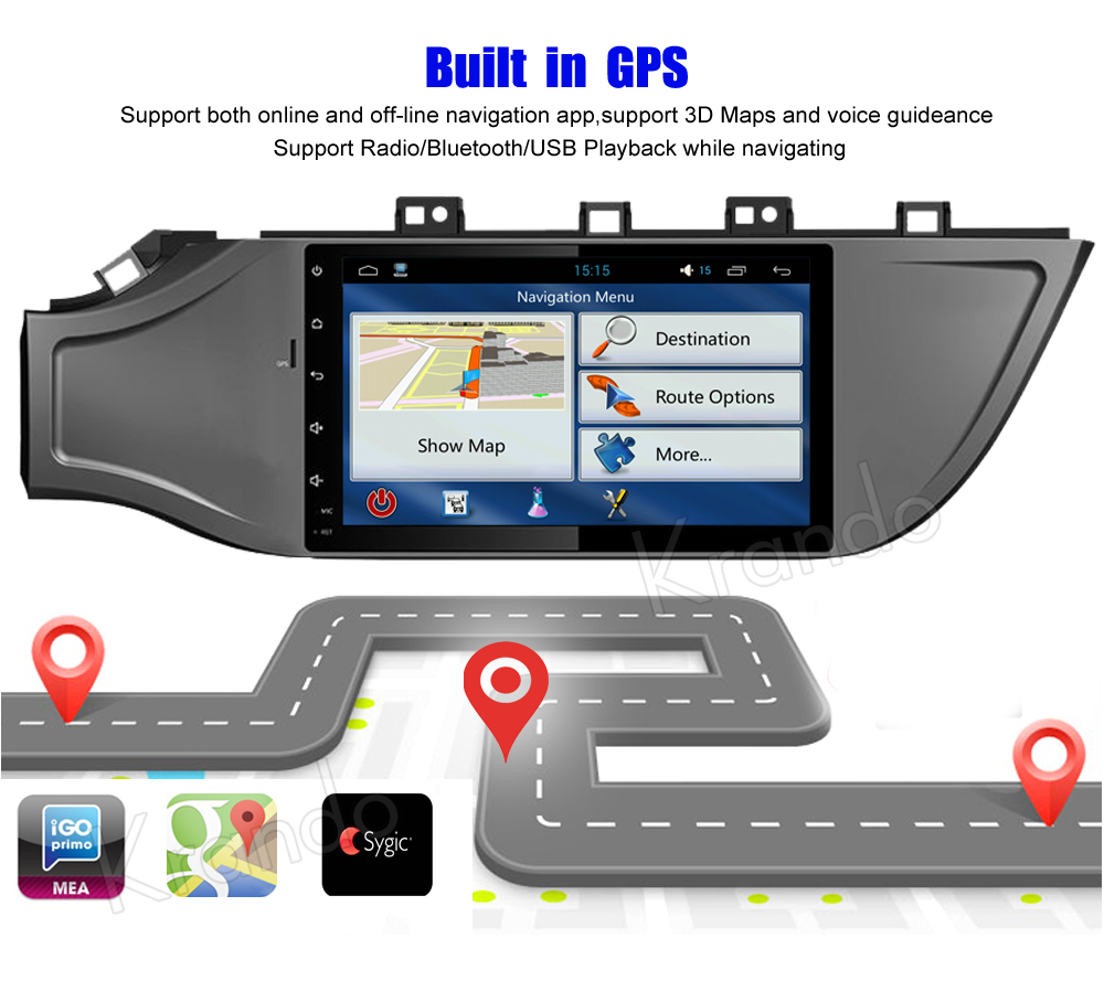 Krando Android car radio gps for kia k2 rio 2017+ navigation multimedia system (5)