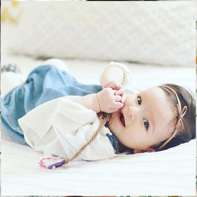 Baby Infant Braided Faux Leather Pacifier Clips Holder Chain Strap+ Bow Headband #330