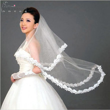 Cheap Wedding Accessories White Ivory 1 Layer 1.5M Lace Edge Wedding Veil Short Bridal Veils Veu de Noiva Longo Com Renda