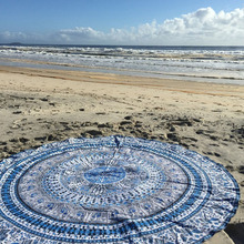 Fashion Summer Shawl Chiffon blue Beach Towels Bohemian Style Printed Round For Picnic Beauty