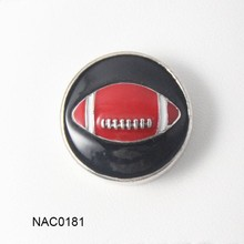 5pcs/lot 2016 Newest high quality black red enemal America football snap new button jewelry silver jewelry(China)