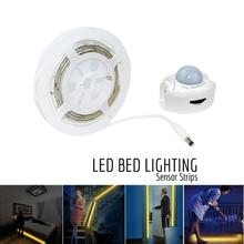 Motion Activated Bed Light Flexible LED Strip Motion Sensor Night Light Bedside Lamp with Automatic Shut Off Timer EU Plug(China)