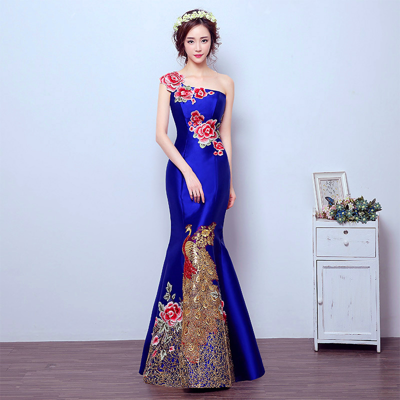Blue Mermaid Tail Asian style Short Sleeve Fashion Embroidery Bride Wedding Qipao Long Cheongsam Chinese Traditional Dress Retro