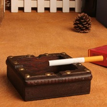 1PCS Vintage Wood Ashtray Cigarette Cigar Tobacco Wooden Case Squre Storage Box Smoking Accessory Gifts MAYITR(China)