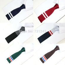Knitted Mens ties Polyester Knit necktie for men Party Business Brand Handmade Cheap Neck Tie(China)