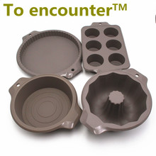 To encounter 1 set silicone Round Baking cake molds pizza pan Toast Pans cupcake mold Baking and Pastry DIY Tools 4 in Package(China)