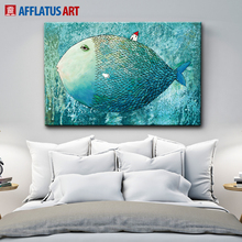 AFFLATUS Nordic Canvas Painting Abstract Fish Wall Art Painting Canvas Poster Watercolor Decoration Prints Bedroom Home Decor