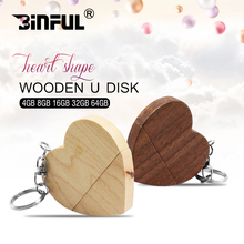 Newest wooden usb flash drive Heart-shaped Flash USB 4gb 8gb 16gb cheap Pendrive 32gb 64gb 128gb USB Stick Pen Driver Gift(China)