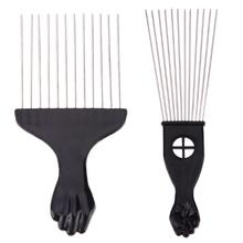 Salon Use Black Metal African American Pick Comb Hair Combs Afro Hair Comb For Hairdressing Styling Tool(China)
