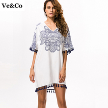 VE&CO Swimwear Women V-Neck White Floral Swimsuit Cover-up Lines Crochet Tunic Pareo Beach Cover Up 2017 Summer New Beach Wear(China)