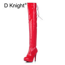 Sexy Patent Leather Thin Heels Women Over The Knee Boots Ladies Platform High Heels Pole Dancing Boots Women Thigh High Boots