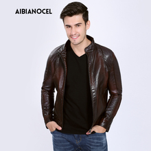 남성 옷 Faux Leather 코트 Faux Leather Jacket Men (High) 저 (Quality Warm 방풍 PU 블루종 가죽 오토바이 S-6XL 3 Color(China)