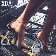 XDA 2017 New fashion Women Pumps Shoes Celebrity Wearing PVC Clear Transparent Strappy Buckle women Sandal High Heels Shoes X722