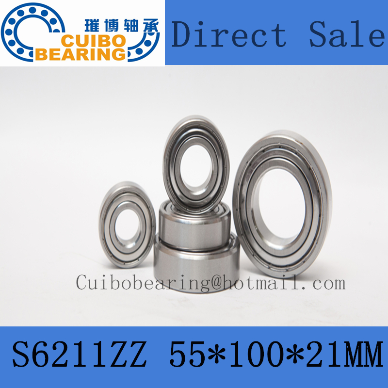 Free Shipping  S6211ZZ Stainless Steel Bearing 55x100x21 Miniature 6211ZZ/SS Ball Bearings S6211Z<br>