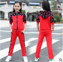 Girls Clothing Sets Printing 2017 Autumn Children's Wear Cotton Casual Tracksuits Kids Clothes Suit