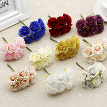 6pcs / lot 4cm MIni Valentine's Day Gift Silk Peony Bouquet Car Decoration Wedding Party Bouquet(China)