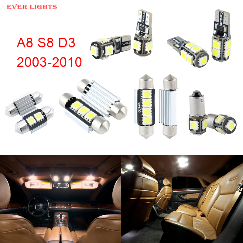 22pcs LED Canbus Interior Lights Kit Package For Audi A8 S8 D3 (2003-2010)<br><br>Aliexpress