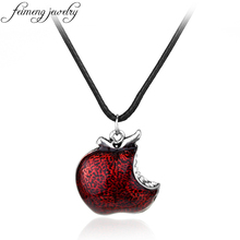 feimeng jewelry Once Upon a Time Necklace Regina Mills One Bite Red Poison Apple Pendants Necklace For Women Fashion Accessories