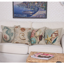 European Retro Style Marine Biology Cushion Cover Sea Conch Shell House Pillow Case Linen Cotton Pillows Covers 43*43cm EJ881910