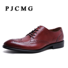 PJCMG Wing Tip Leather Men's Business Lace-Up Red/Black Formal Brogue Pointed Toe Carved Oxfords Vintage Men's Flats Shoes(China)