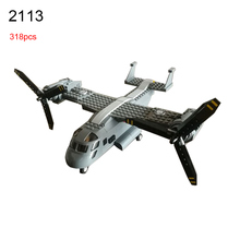 2113 318Pcs Military series Osprey helicopter Model Building Blocks DIY Educational Bricks Toys For Children Gift(China)