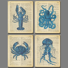 4 Pcs Blue Animal Newspaper Crab Picture Decoration Lobster Cuttlefish Printed Letters Jellyfish Canvas Painting Art Unframed(China)
