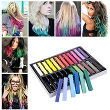 Cool Punk 24 Colors Hair Dying Chalk/Pen Easy Dye Temporary Colors Non-toxic Soft Pastels Kit Hair Color Crayons(China)